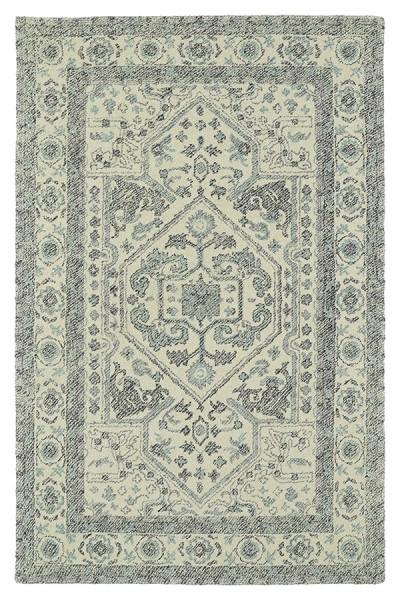 Ivory, Grey, Sky Blue (01) Traditional / Oriental Area Rug