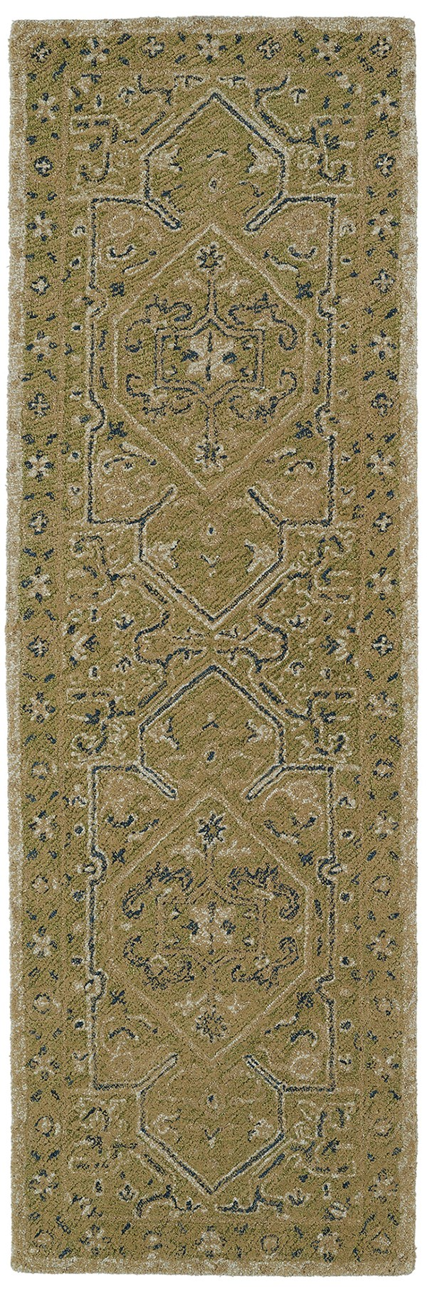 Green, Denim, Light Brown (50) Traditional / Oriental Area Rug