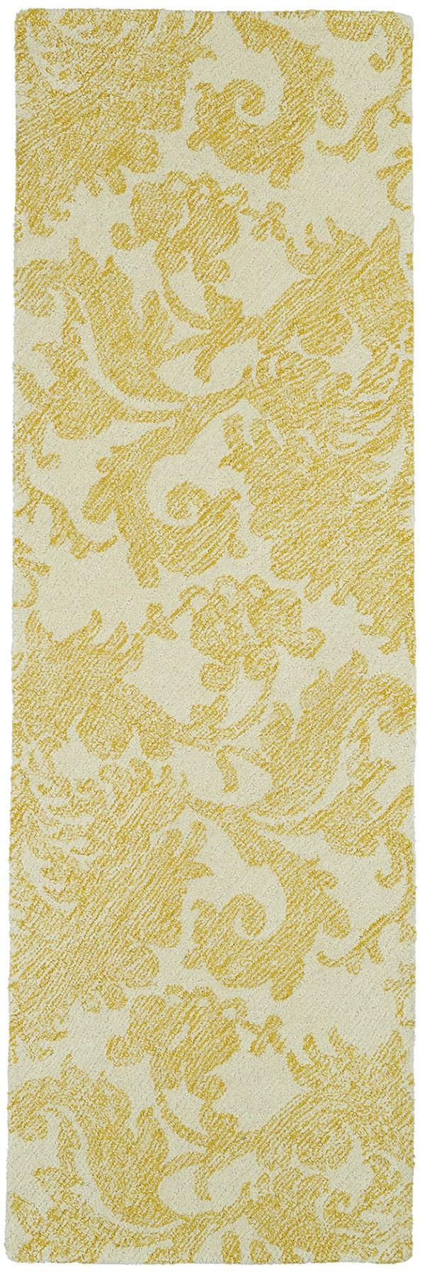 Ivory, Gold (05) Damask Area Rug
