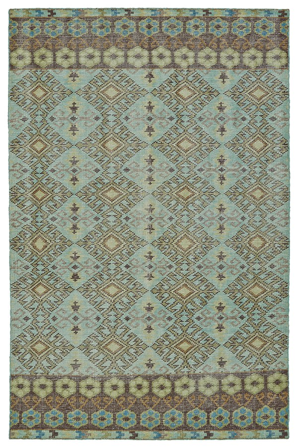 Turquoise, Tan, Brown (78) Southwestern / Lodge Area Rug