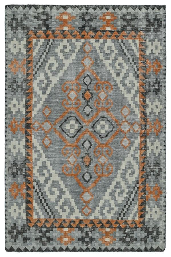 Grey, Black, Paprika (75) Southwestern / Lodge Area Rug