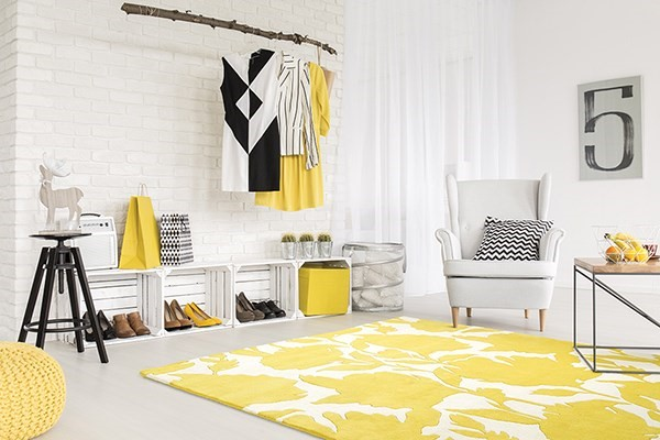 Yellow, Ivory (28) Floral / Botanical Area Rug