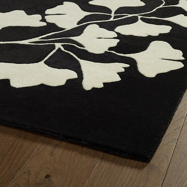 Black, Ivory (02) Floral / Botanical Area Rug