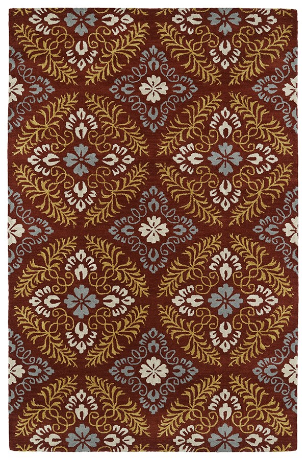 Red, Slate, Blue, Gold, Light Taupe (25) Transitional Area Rug