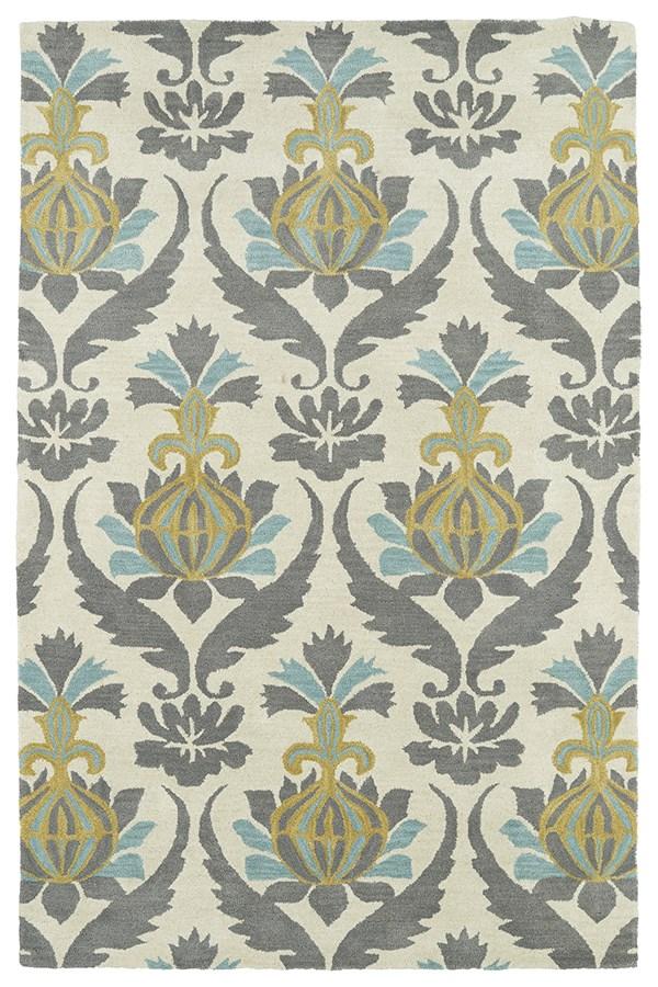 Ivory, Grey, Turquoise, Gold (01) Damask Area Rug