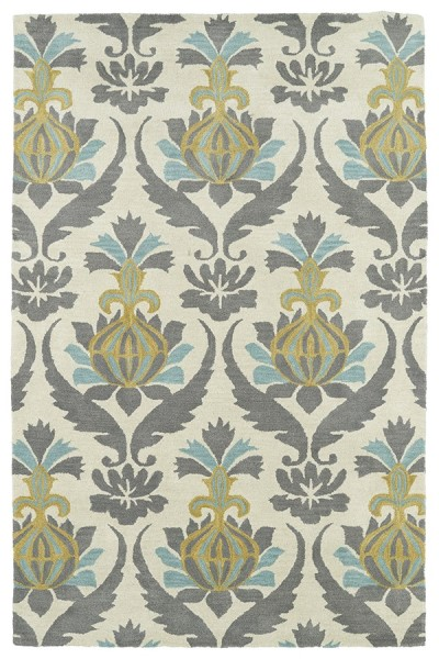 Ivory, Grey, Turquoise, Gold (01) Traditional / Oriental Area Rug