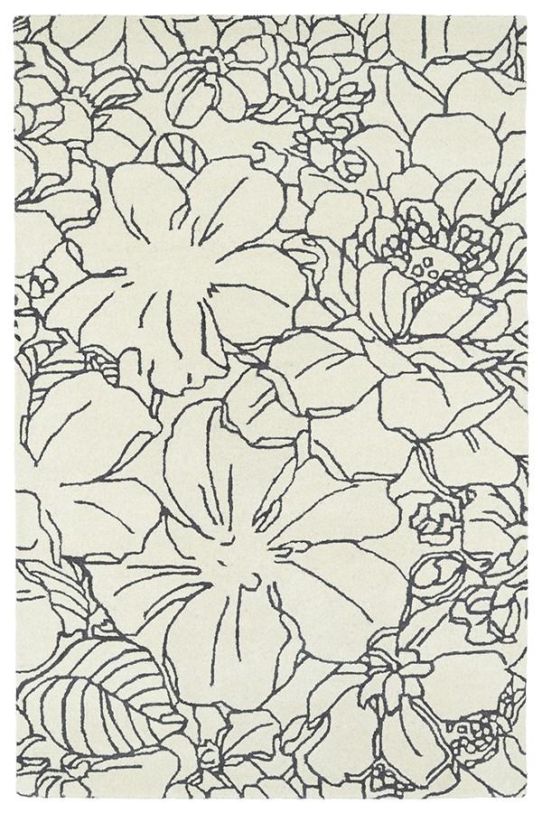 Ivory, Grey (01) Floral / Botanical Area Rug