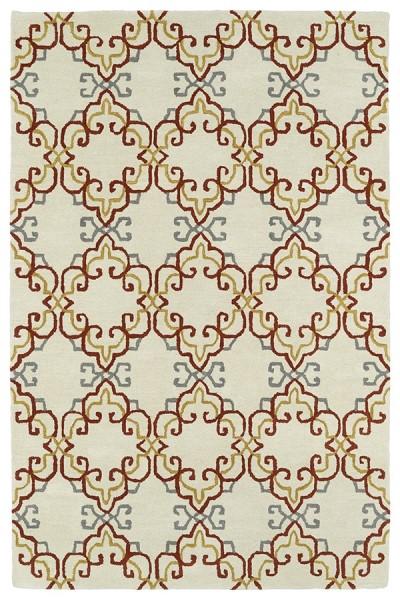 Ivory, Brick, Mustard, Grey (01) Contemporary / Modern Area Rug