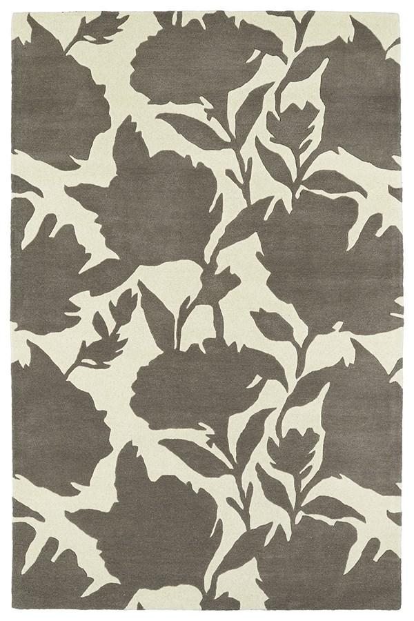 Grey, Ivory (75) Floral / Botanical Area Rug
