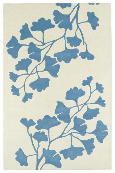 Light Blue, Ivory (17) Floral / Botanical Area Rug