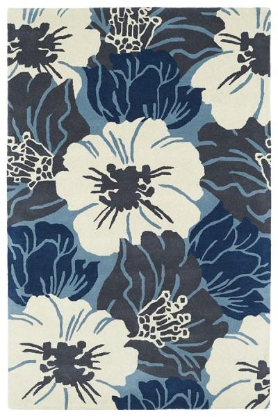 Navy, Light Blue, Ivory, (17) Floral / Botanical Area Rug