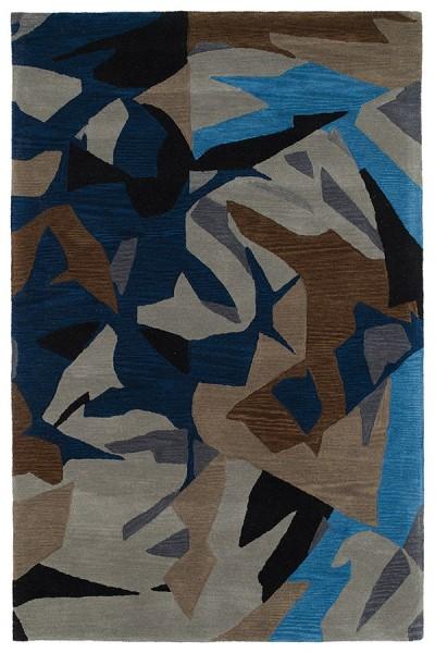 Black, Navy, Grey, Milk Chocolate (86) Contemporary / Modern Area Rug