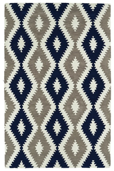 Navy, Ivory, Dark Taupe (22) Moroccan Area Rug