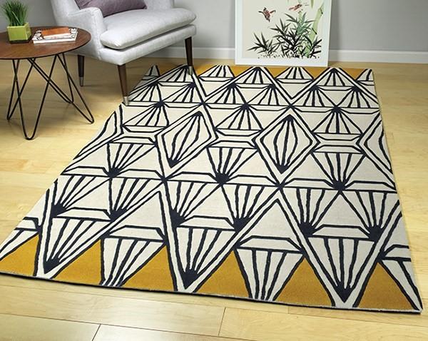 Ivory, Charcoal, Butterscotch (01) Geometric Area Rug