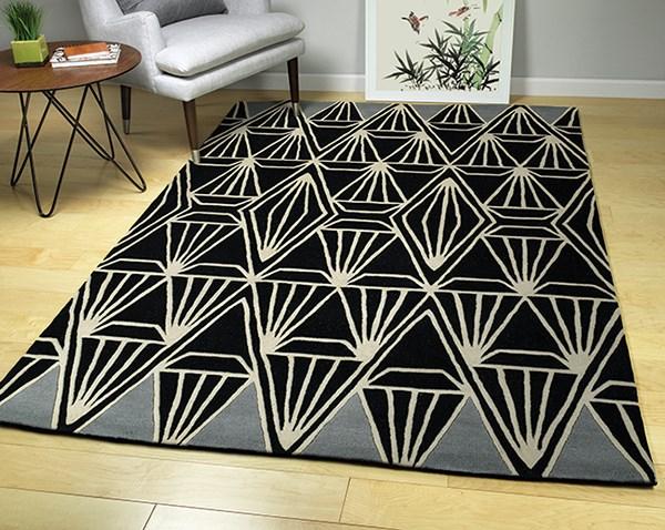 Black, Linen, Silver (02) Geometric Area Rug