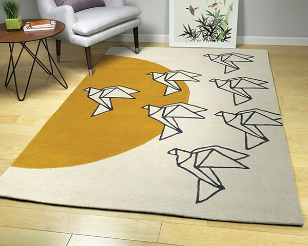 Ivory, Charcoal, Butterscotch (01) Contemporary / Modern Area Rug