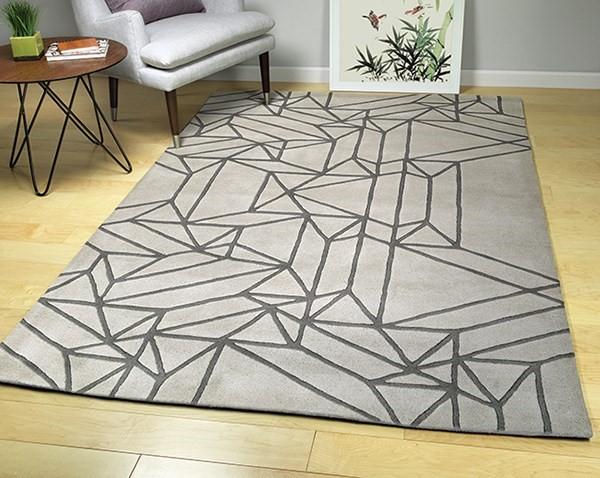 Mint, Dark Grey (88) Geometric Area Rug