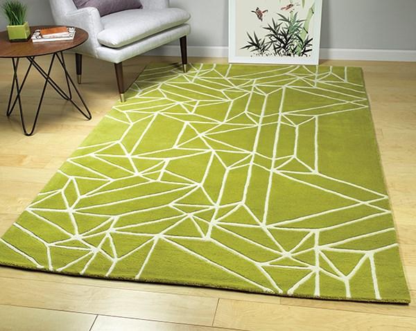 Lime Green, Ivory (96) Geometric Area Rug