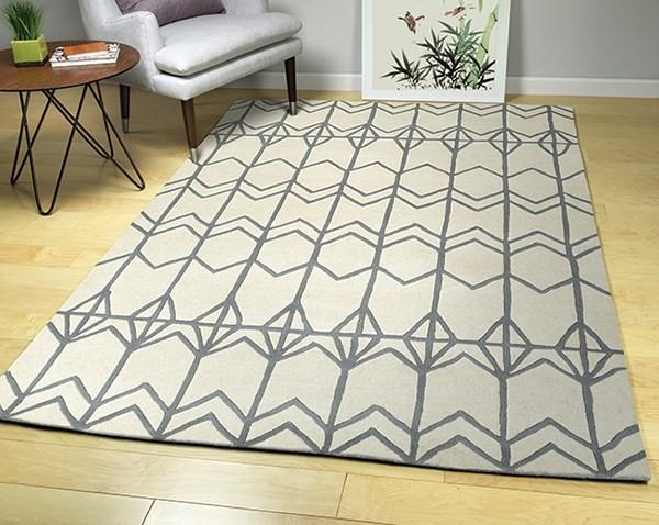 Ivory, Shale Grey (01) Geometric Area Rug