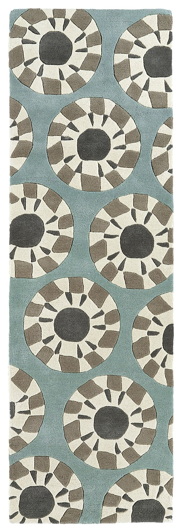 Grey, Ivory, Dark Turquoise, Medium Grey (75) Geometric Area Rug