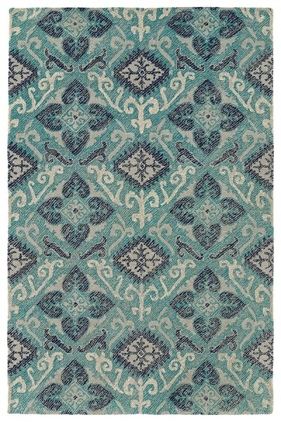 Shale Grey, Silver, Teal, Navy (91) Outdoor / Indoor Area Rug