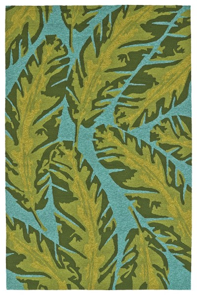 Blue, Light Teal, Forest Green (17) Outdoor / Indoor Area Rug