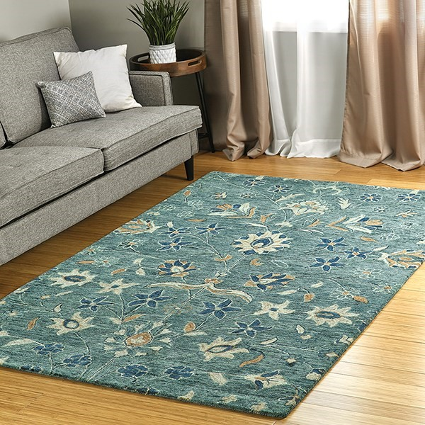 Blue, Navy, Brown (17) Traditional / Oriental Area Rug