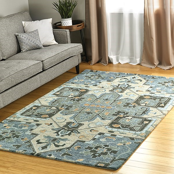 Blue, Grey, Gold (17) Traditional / Oriental Area Rug