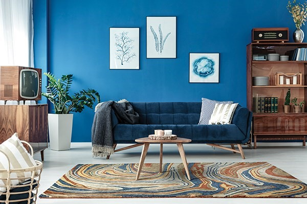 Blue (86) Abstract Area Rug