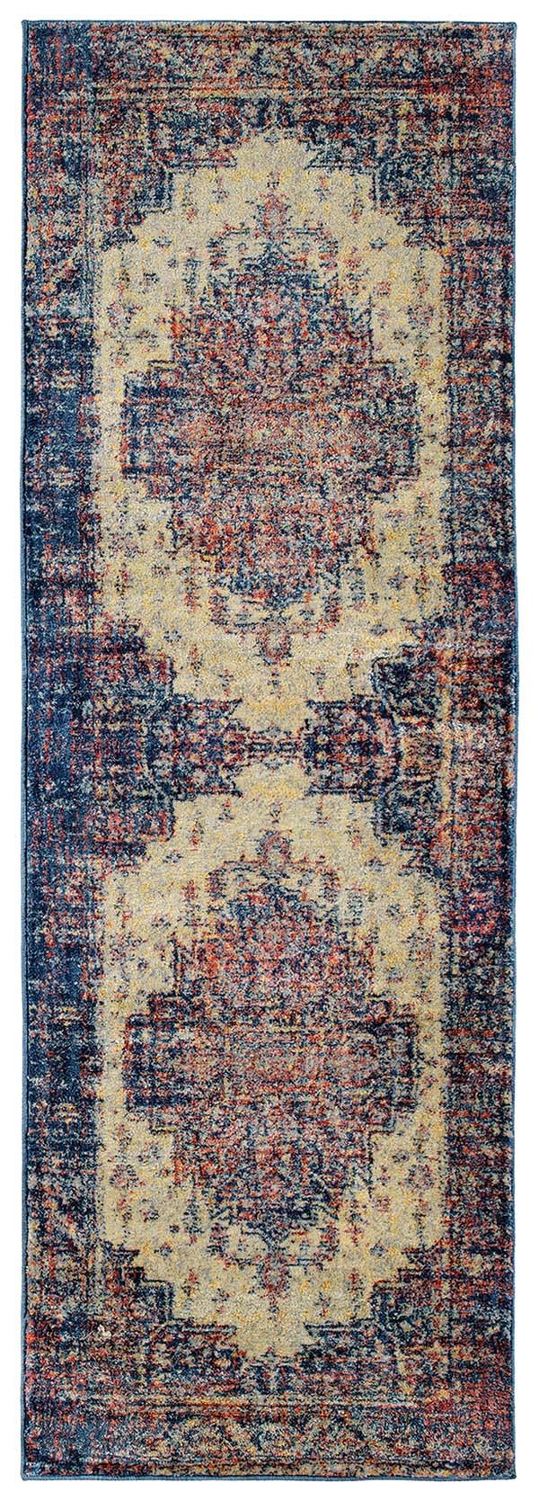 Linen, Blue (86) Bohemian Area Rug