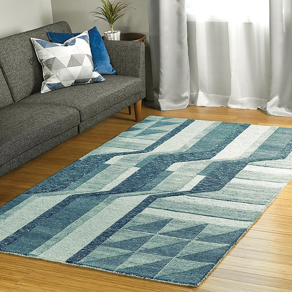 Blue, Denim, Ivory (17) Contemporary / Modern Area Rug
