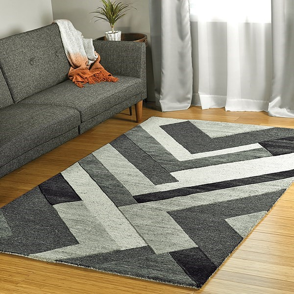 Charcoal, Silver, Black (38) Contemporary / Modern Area Rug
