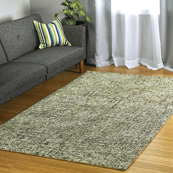 Green, Olive, Linen (50) Contemporary / Modern Area Rug