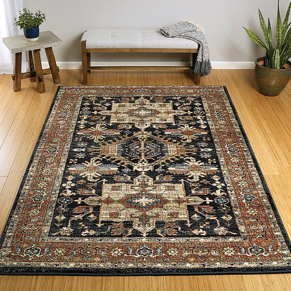 Navy, Paprika, Brown (22) Traditional / Oriental Area Rug