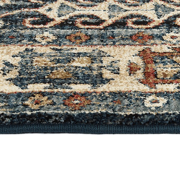 Blue, Brown, Gold (17) Traditional / Oriental Area Rug