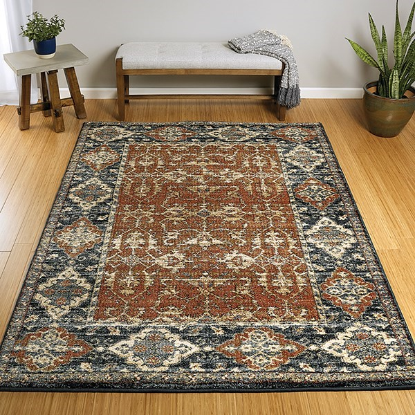 Paprika, Blue, Black (53) Traditional / Oriental Area Rug