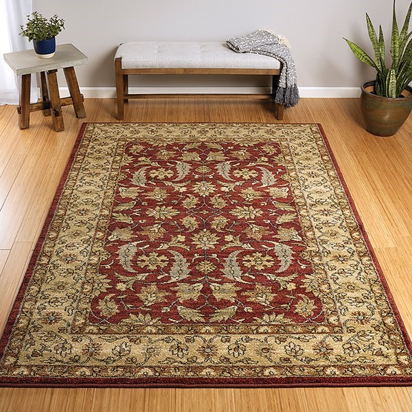 Burgundy, Cream, Black (04) Traditional / Oriental Area Rug