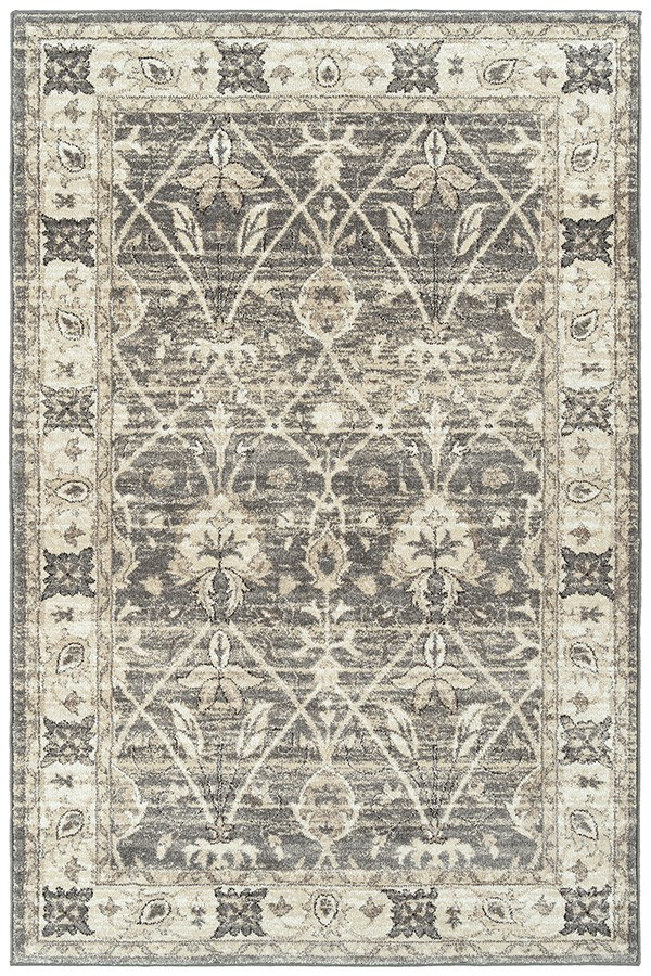 Grey, Silver, Ivory (75) Traditional / Oriental Area Rug