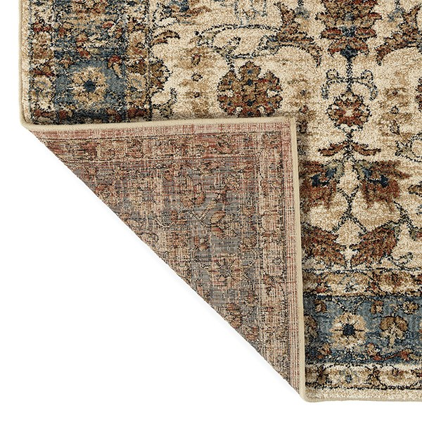 Cream, Blue, Paprika (09) Traditional / Oriental Area Rug