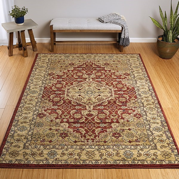 Burgundy, Sage, Cream (04) Traditional / Oriental Area Rug