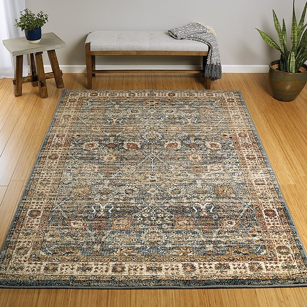 Blue, Paprika, Cream (17) Traditional / Oriental Area Rug