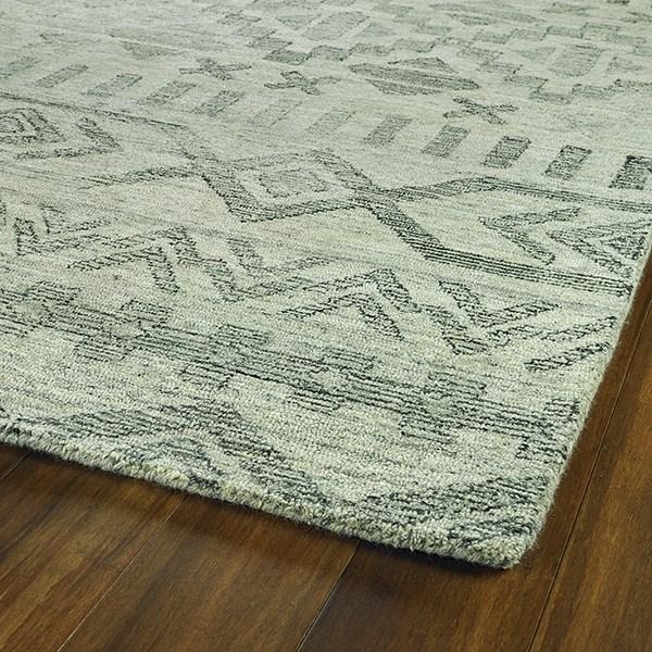 Silver, Linen, Charcoal (77) Rustic / Farmhouse Area Rug