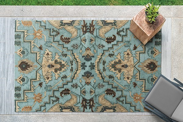 Blue, Fawn, Chocolate (17) Outdoor / Indoor Area Rug