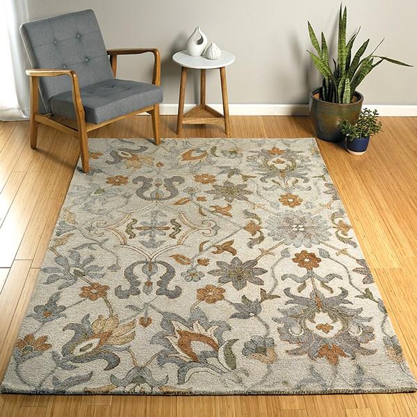 Silver, Rust, Charcoal (77) Outdoor / Indoor Area Rug