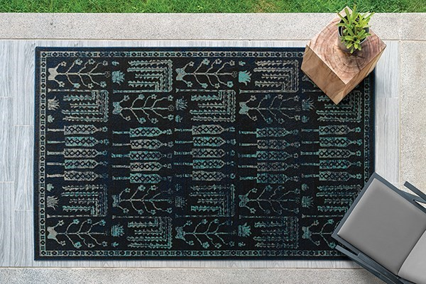 Navy, Black, Turquoise (22) Outdoor / Indoor Area Rug