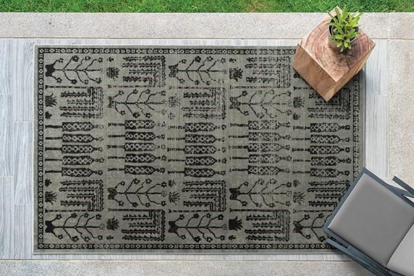 Grey, SIlver, Black (75) Outdoor / Indoor Area Rug