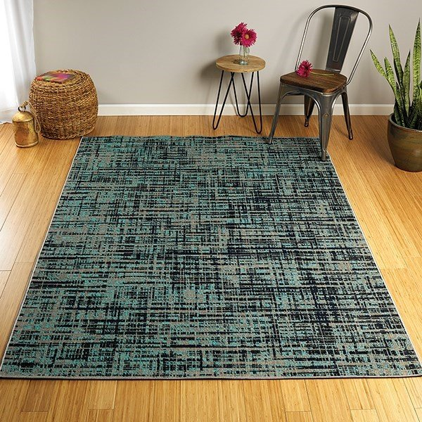 Turquoise, Black, Grey (78) Contemporary / Modern Area Rug