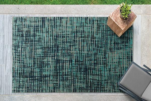Turquoise, Black, Grey (78) Outdoor / Indoor Area Rug