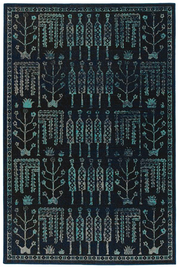 Navy, Black, Turquoise (22) Outdoor / Indoor Area Rug