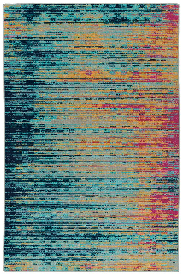 Turquoise, Gold, Pink (86) Outdoor / Indoor Area Rug